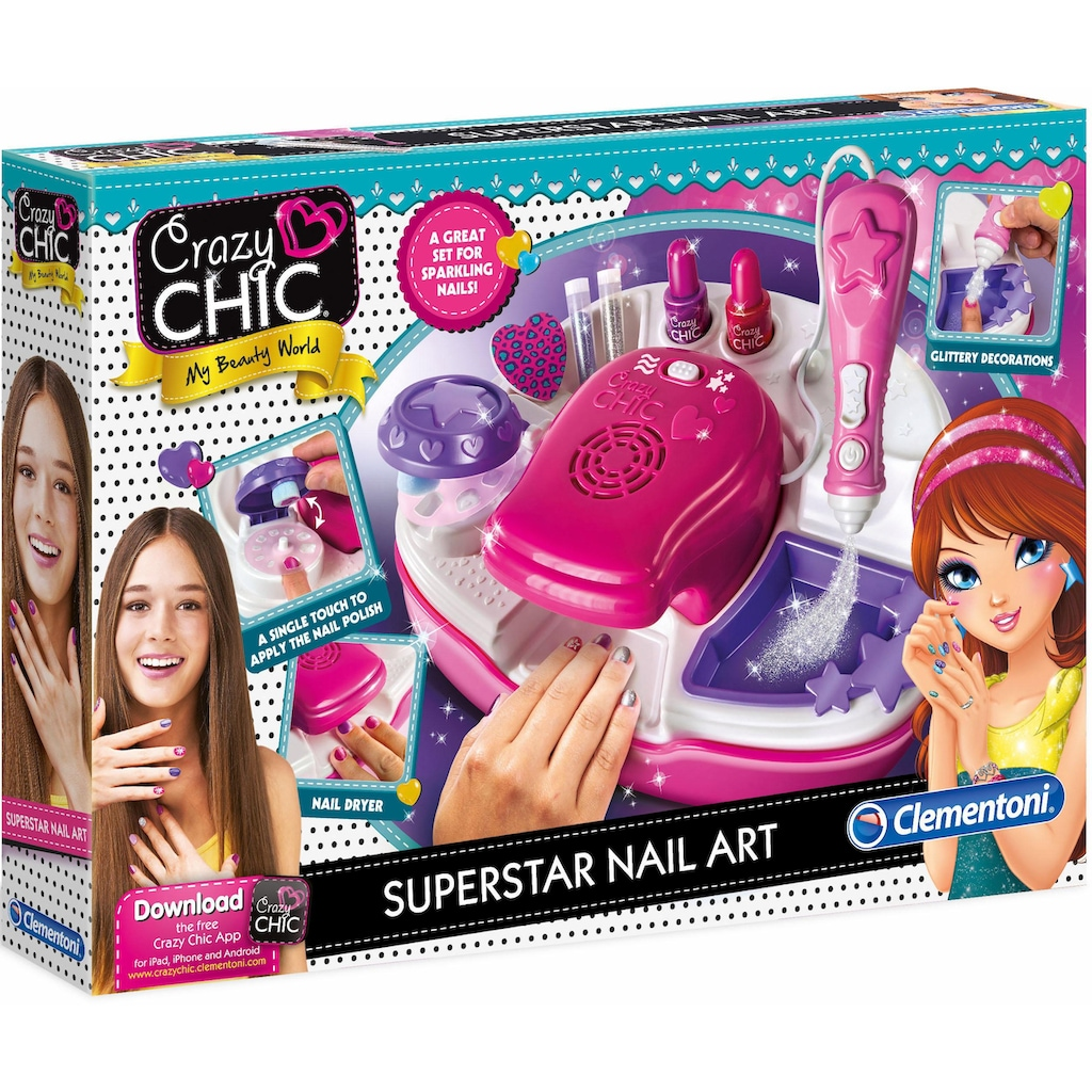 Clementoni® Kreativset »Crazy Chic - Superstar Nageldesign«, (Set), Mit kostenloser App; Made in Europe