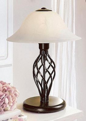 schwarze Tischleuchte mit weißem Lampenschirm