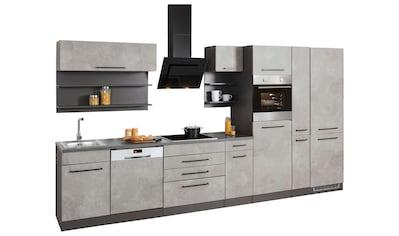HELD MÖBEL Küchenzeile »Tulsa«, mit E-Geräten, Breite 380 cm, schwarze Metallgriffe,... kaufen