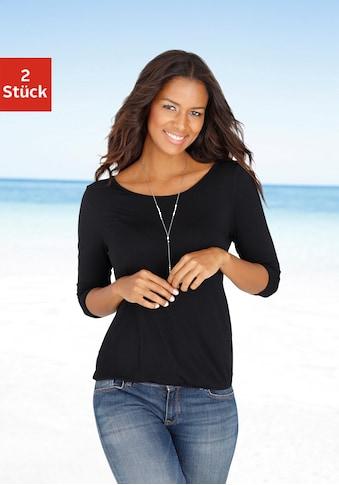 LASCANA 3/4-Arm-Shirt, mit modischem Cut-out im Nacken kaufen