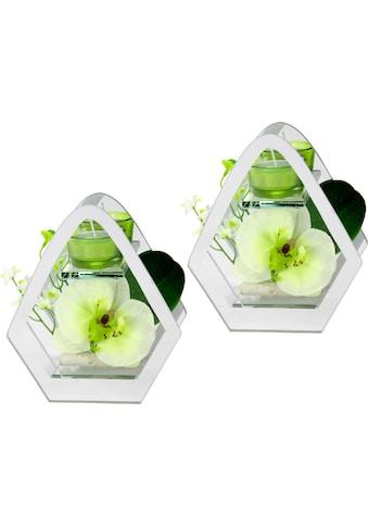 I.GE.A. Kunstpflanze »Orchidee im Glas mit Teelicht« (Set, 2 Stück) kaufen