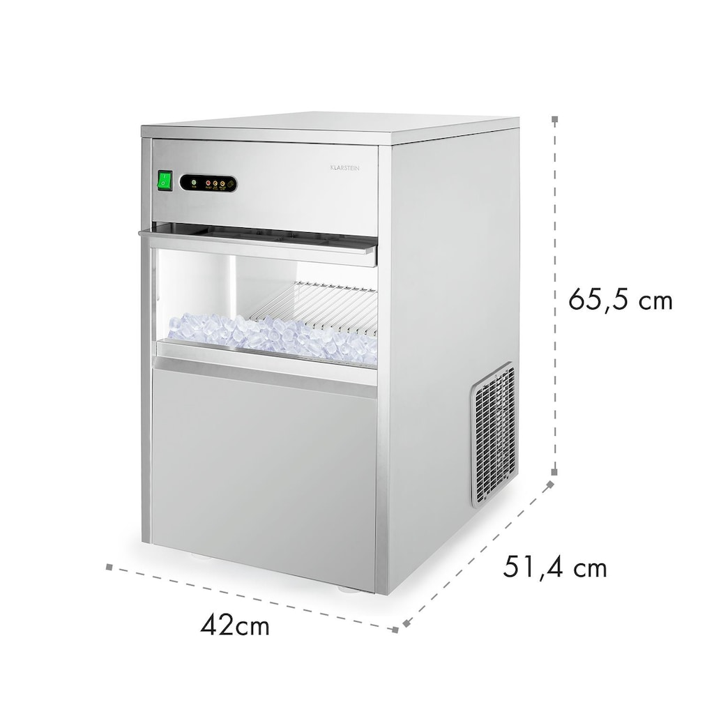 Klarstein Eiswürfelmaschine Industrie 160 W 25kg/Tag Edelstahl »POWERICER-XXL«