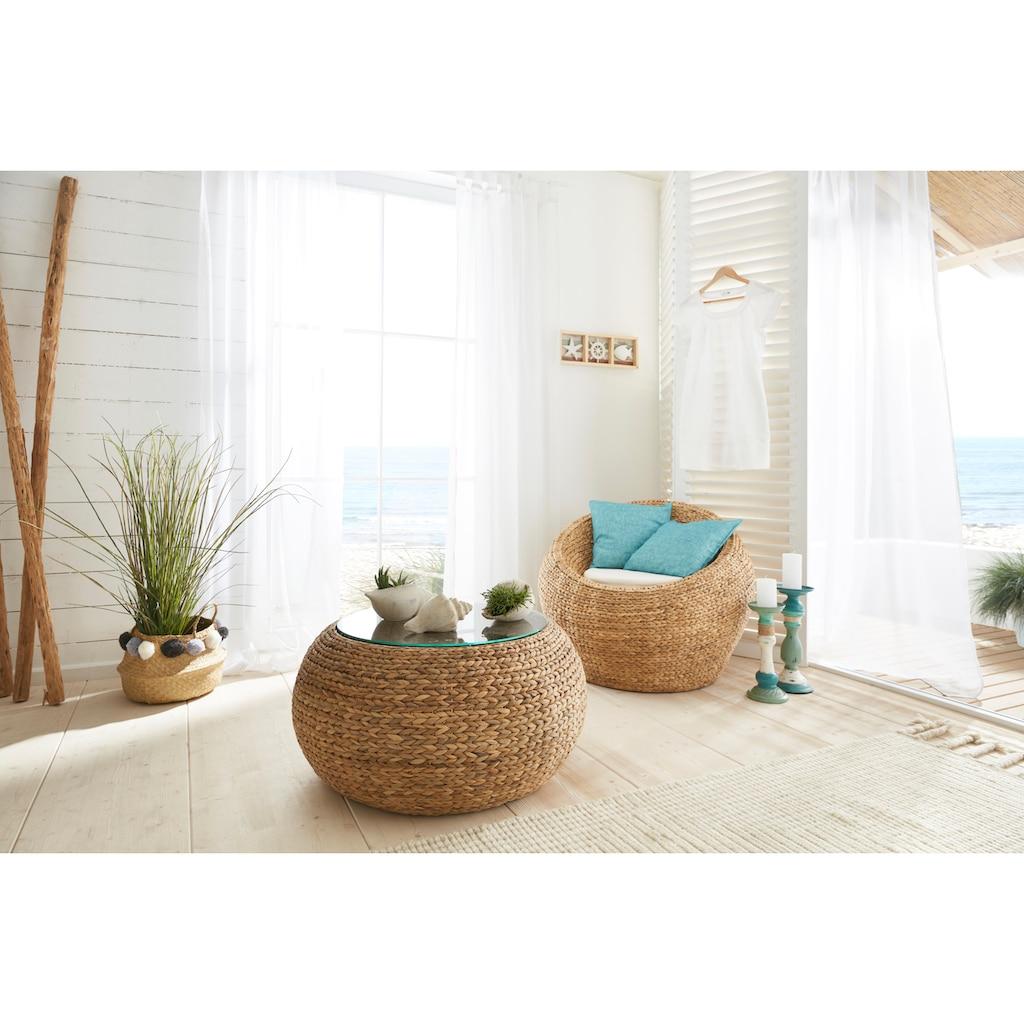 Home affaire Beistelltisch »Gariés«, mit einer Glastischplatte, aus geflochtenem Wasserhyazinthengeflecht, Durchmesser 80 cm