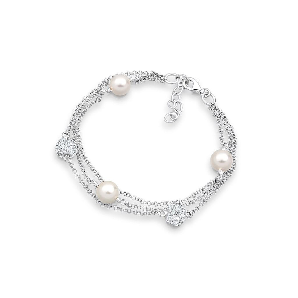 Elli Armband »Süßwasserzuchtperlen Synthetische Perlen Silber«
