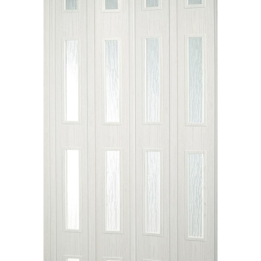 Falttür »Luciana«, eiche weiß, mit 4 Fenstern in Riffelstruktur