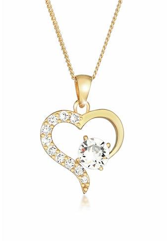Elli Collierkettchen »Herz Kristalle 925 Sterling Silber« kaufen