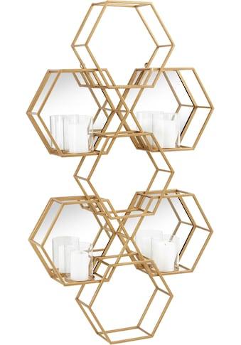 Leonique Wandkerzenhalter »Hexagon«, Wanddeko, aus Metall, bestehend aus sechseckigen Elementen, mit 4 Kerzenhaltern kaufen