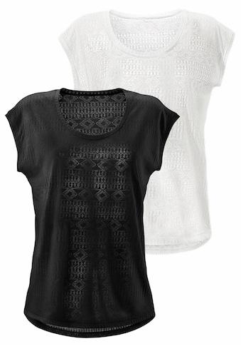 LASCANA T-Shirt, Ausbrenner-Qualität mit leicht transparentem Ethno-Design kaufen
