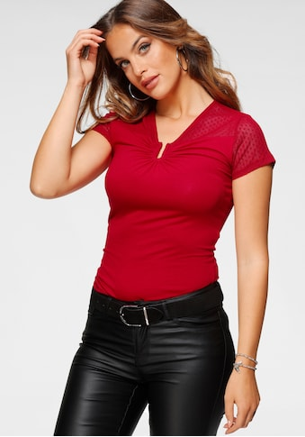 Melrose T-Shirt, mit Mesh und Schmuck-Detail kaufen