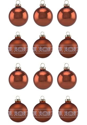 Thüringer Glasdesign Weihnachtsbaumkugel »Kupfer Glanz«, (Set, 12 St.), Made in Germany kaufen