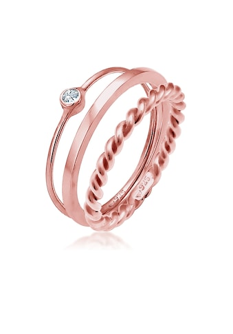 Elli Solitärring »Ring-Set mit Kristalle 925 Silber« kaufen