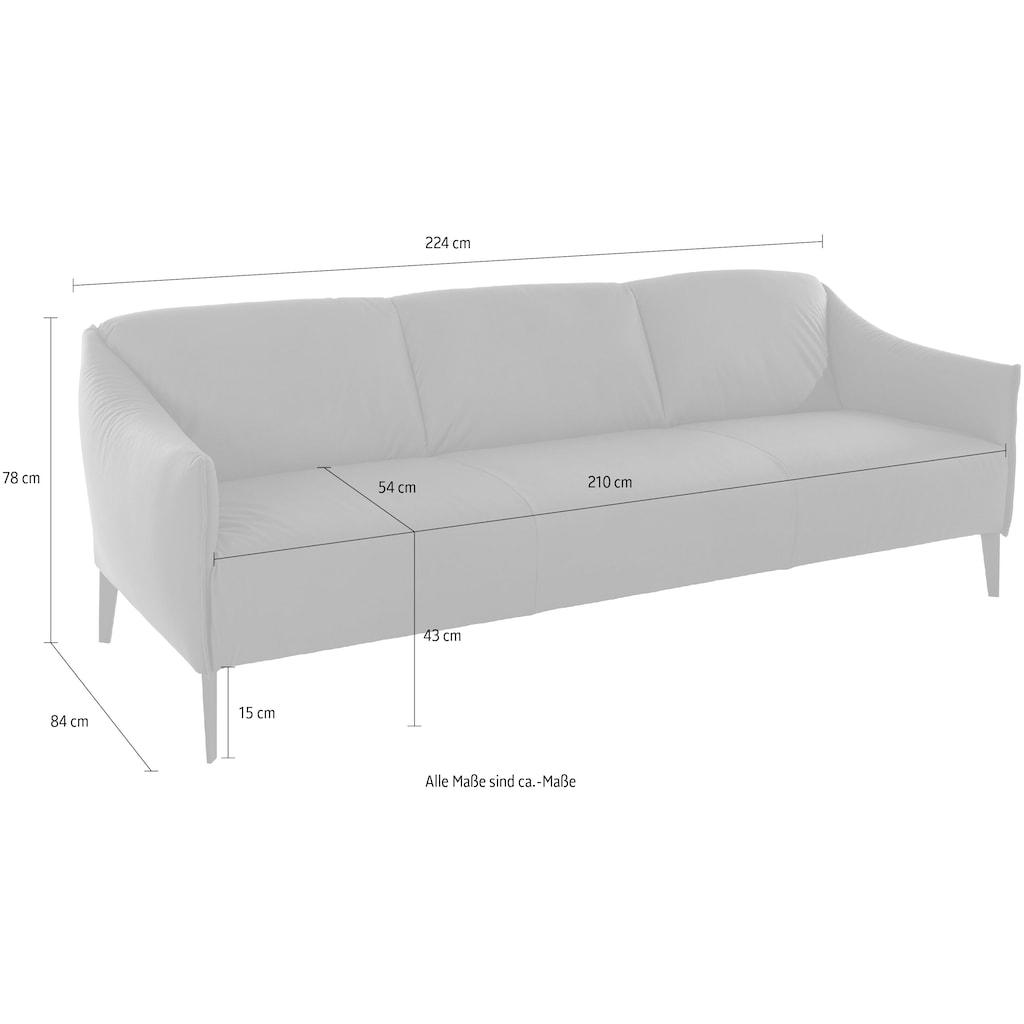 W.SCHILLIG 3-Sitzer »sally«, mit Metall-Winkelfüßen in Chrom glänzend, Breite 224 cm