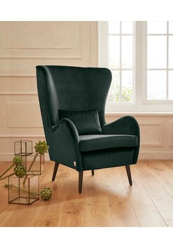 Guido Maria Kretschmer Home&Living Sessel »Salla«, wahlweise mit oder ohne Hocker; großer Sessel: Maße B/T/H: 78/94/118 cm, Bezug auch in Luxus-Microfaser in Teddyfelloptik kaufen