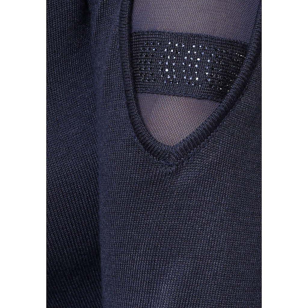 Melrose Strickkleid, mit Netzeinsatz und Glitzersteinen
