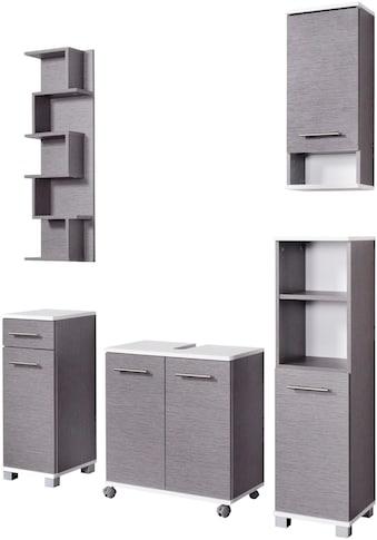 Schildmeyer Badmöbel-Set »Rhodos«, (Set, 5 tlg.), mit Metallgriffen, verstellbare Einlegeböden, z.T. wechselbare Türanschläge kaufen
