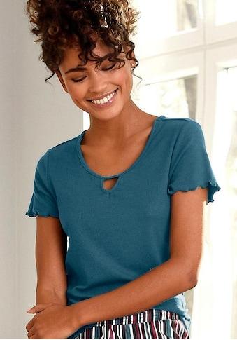 s.Oliver Bodywear T-Shirt, aus geripptem Stoff mit Kräuselsäumen kaufen
