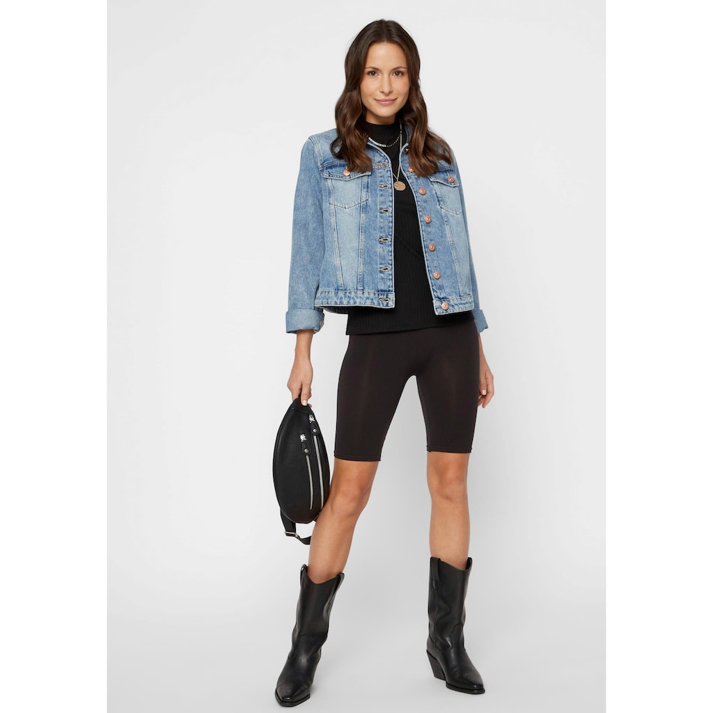 pieces Jeansjacke »PCLOU«, in leichter Used-Waschung