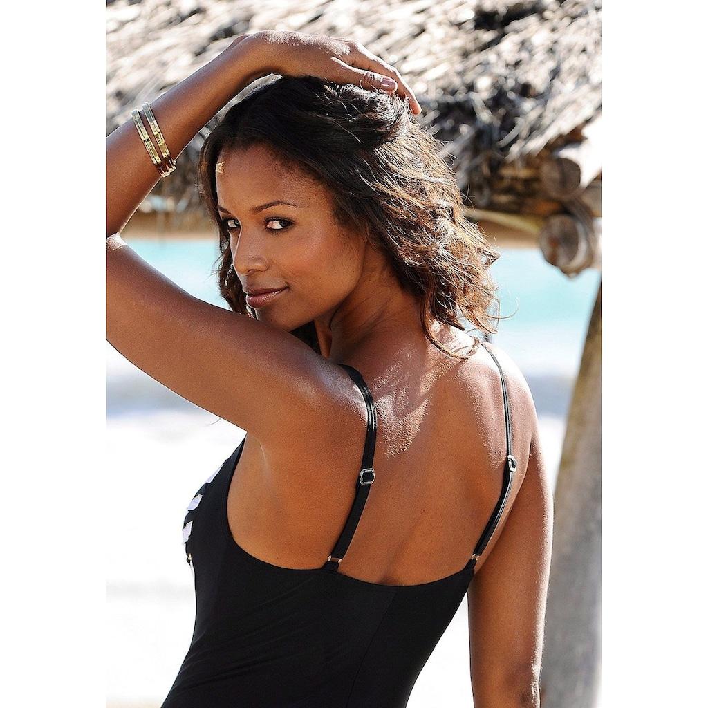 LASCANA Badeanzug, mit goldfarbener Beschichtung