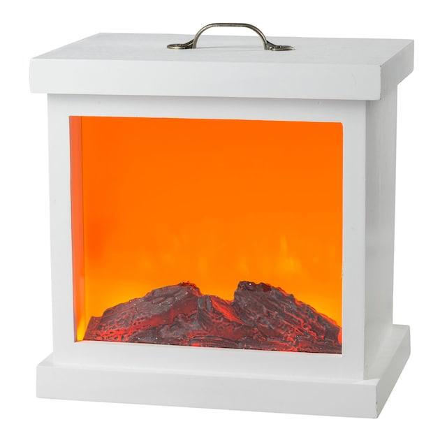 HGD Holz-Glas-Design LED-Holzkamin mit Kamineffekt und Metallverzierung für Netzbetri