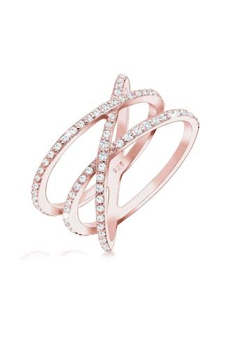 Elli Fingerring »Verschlungen Kristalle 925 Silber« kaufen