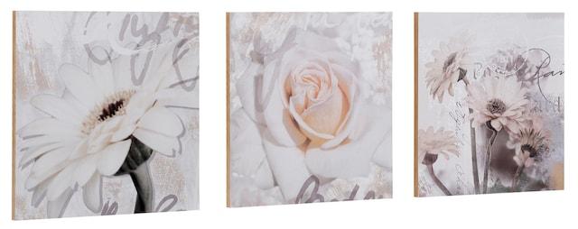 dreiteiliges Holzbild mit Blumenmotiv