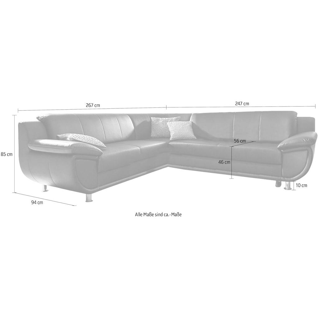 TRENDMANUFAKTUR Ecksofa, wahlweise mit Bettfunktion, mit breiten Armlehnen, frei im Raum stellbar