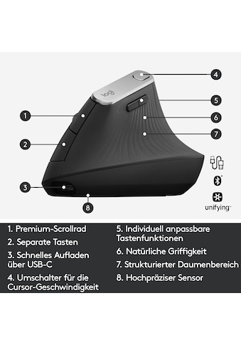 Logitech ergonomische Maus »MX Vertical«, Bluetooth kaufen