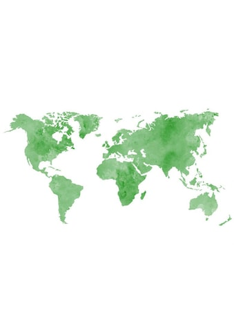 Wall-Art Wandtattoo »Grüne Weltkarte Bilderrahmen« kaufen