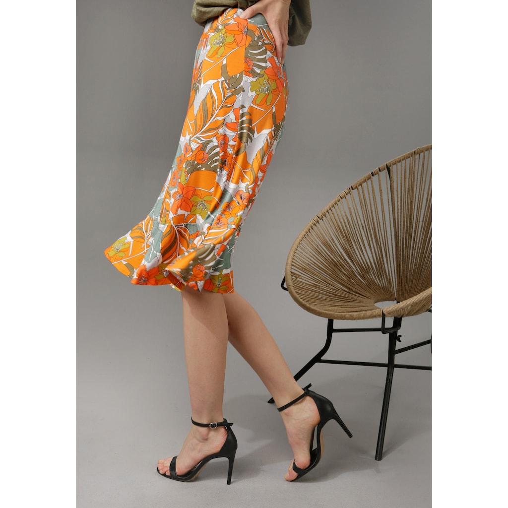 Aniston CASUAL Sommerrock, mit trendfarbenen Blumendruck