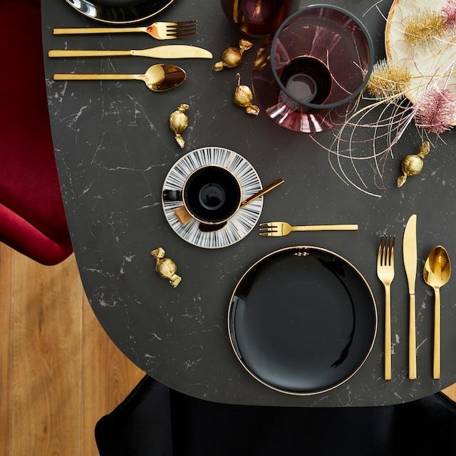 """CreaTable Kaffeeservice """"Enjoy Black Style"""" (18-tlg.), Porzellan"""