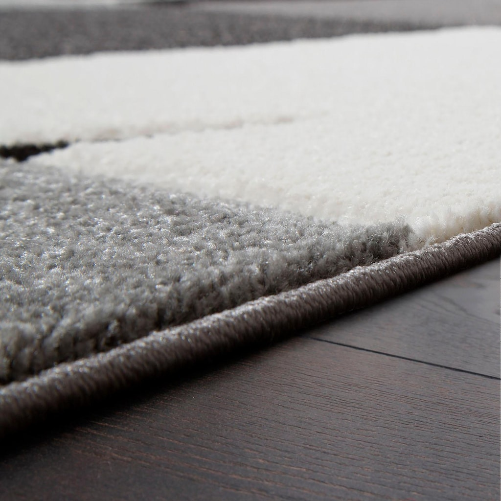 Paco Home Läufer »Diamond 665«, rechteckig, 17 mm Höhe, Teppich-Läufer, Kurzflor, gewebt, 3D-Design, Karo Muster