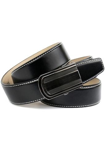 Anthoni Crown Ledergürtel, in schwarz mit weißer Kontrastziernaht kaufen