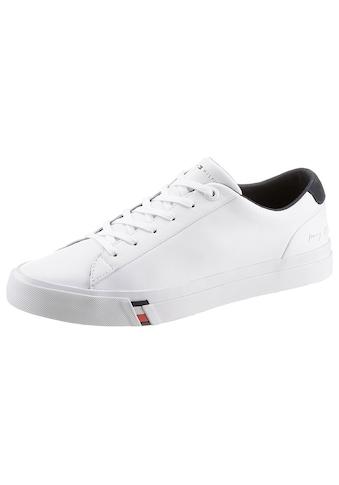 Tommy Hilfiger Sneaker »CORPORATE LEATHER SNEAKER«, mit Logoschriftzug an der Ferse kaufen