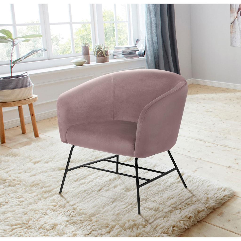 andas Loungesessel »Roger«, in verschiedenen Bezugsqualitäten, Beinfarben und Farbvarianten, Sitzhöhe 46 cm