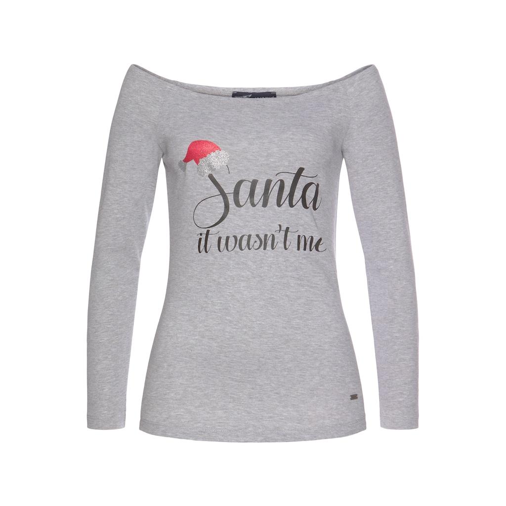 Arizona Carmenshirt »mit Weihnachtsmotiv«, mit X-Mas Motiv