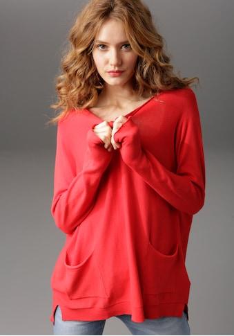 Aniston CASUAL Rundhalspullover, mit Seitenschlitzen kaufen