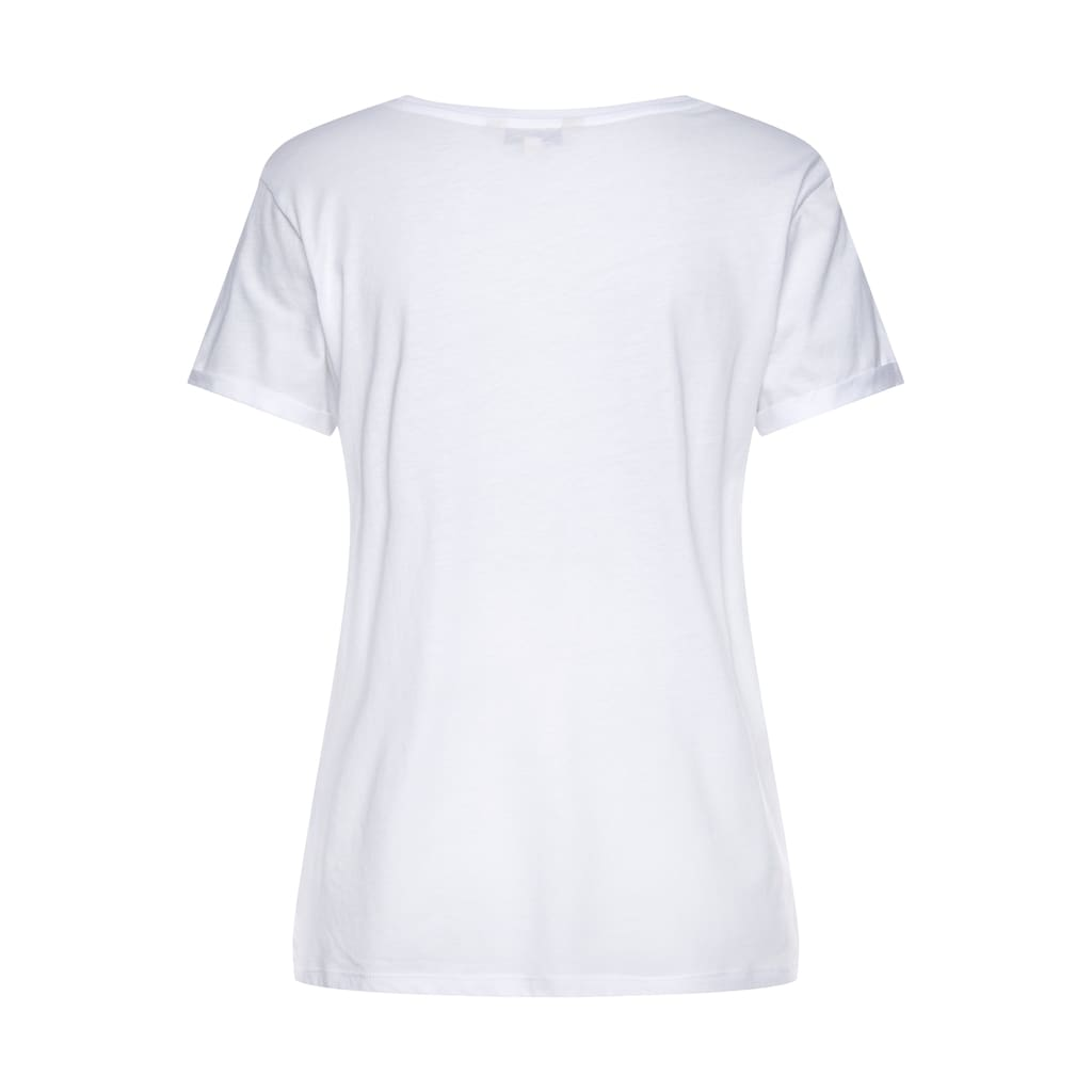 """Herrlicher T-Shirt »KENDALL«, mit goldfarbigem """"Heldin"""" Statement Frontprint"""
