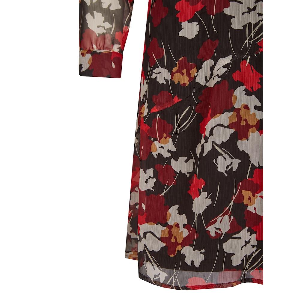LeComte Druckkleid, mit herbstlichem Blumenprint und Lagenlook