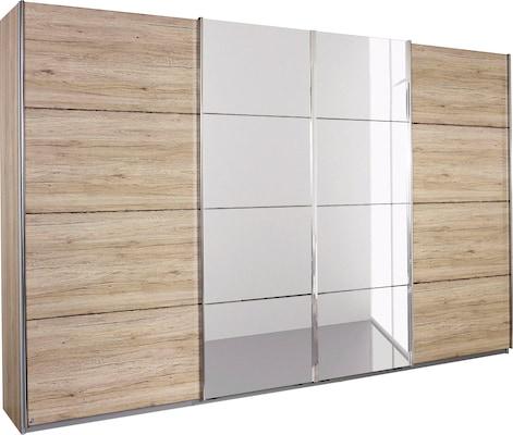 Schwebetürenschrank in Holzoptik mit Spiegel