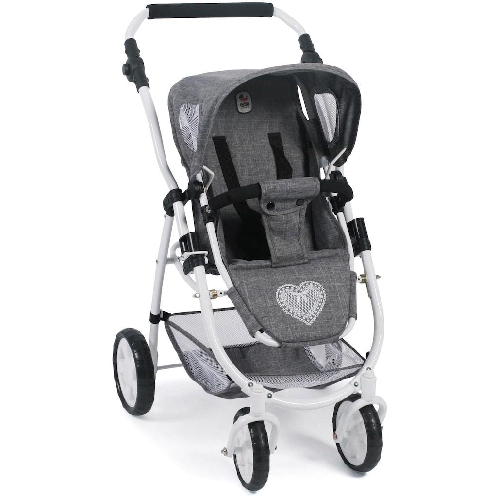 CHIC2000 Kombi-Puppenwagen »Emotion All In 2in1, Jeans Grey«, inkl. Babywanne und Sportwagenaufsatz