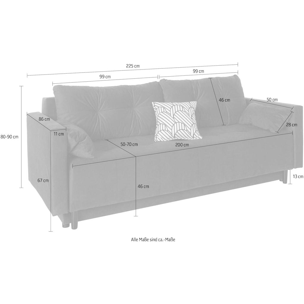 COLLECTION AB Schlafsofa, inklusive Bettfunktion, Bettkasten, Federkern und loser Rücken- und Zierkissen, frei im Raum stellbar