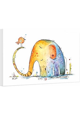 Leinwandbild »Hagenmeyer  -  Elefant mit Vogel« kaufen