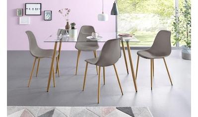 my home Essgruppe »Miller«, (Set, 5 tlg.), Eckiger Glastisch mit 4 Stühlen... kaufen