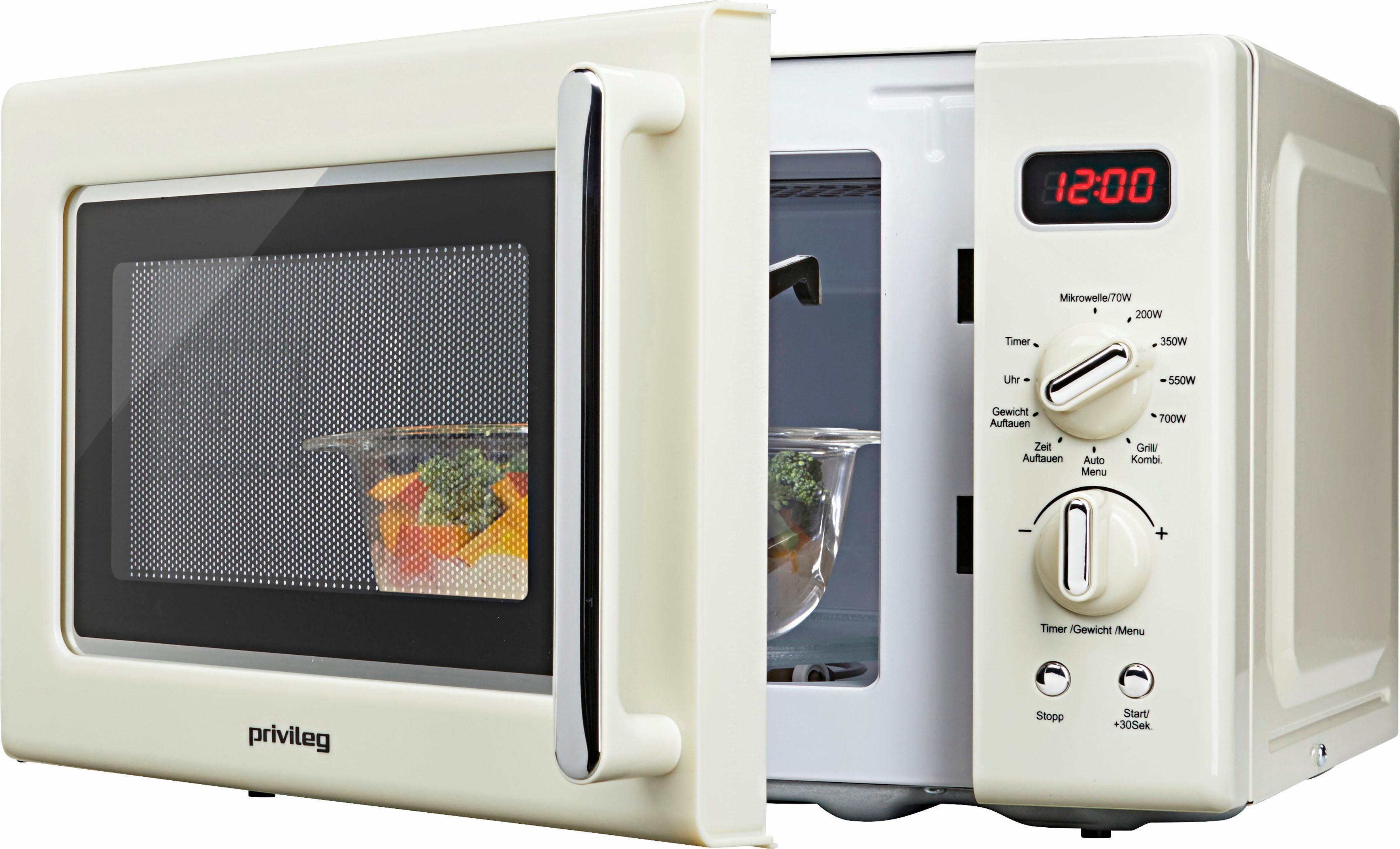 *Privileg Mikrowelle »670559«, Grill, 700 W, im Retro-Design, 8 Automatikprogramme, beige*