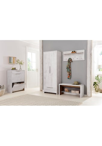 Home affaire Garderobenpaneel »Auckland«, mit 1 Metallstange und 5 Haken, aus Massivholz, Breite 60 cm kaufen