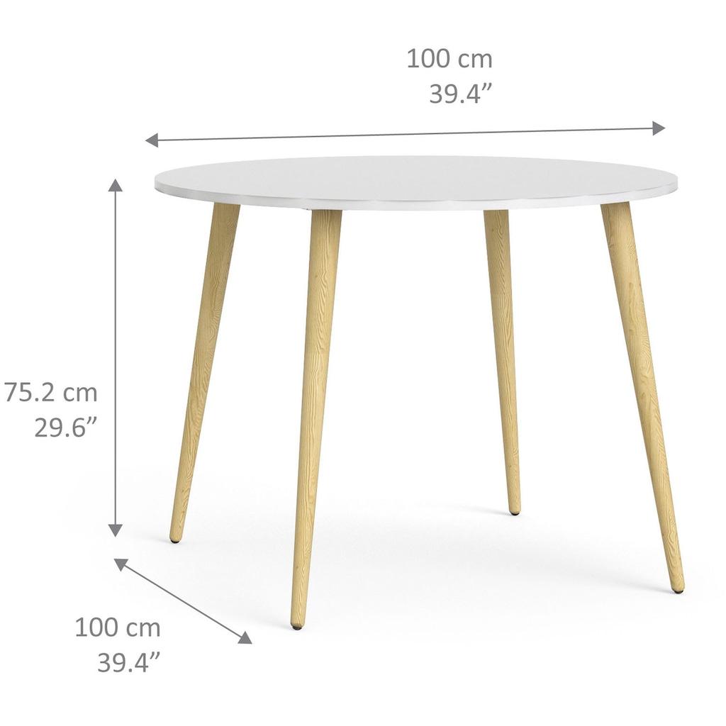 Home affaire Esstisch »Oslo«, mit massiven Eichenholzbeinen, mit einer melaminbeschichteten Tischplatte, Made in Denmark, Breite 100 cm