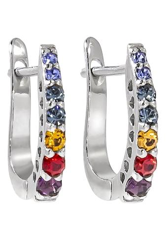 Firetti Paar Creolen »bunte Optik, rhodiniert, glänzend«, mit Kristallsteinen kaufen