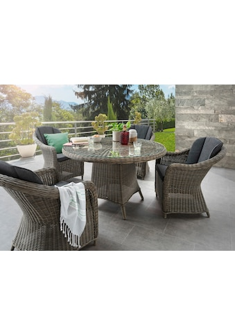 DESTINY Sitzgruppe »Luna/Malaga«, 13 - tlg., 4 Sessel, Tisch 120 cm, Alu/Polyrattan kaufen