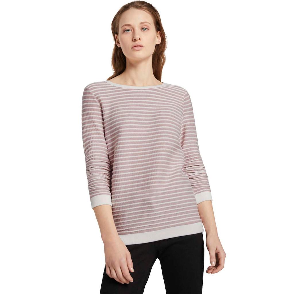 TOM TAILOR Denim Sweatshirt, mit strukturiertem Streifen