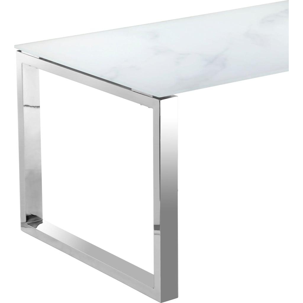 Leonique Esstisch »Colmar«, edles Chromgestell mit fest montierter Glasplatte, in modernem Design